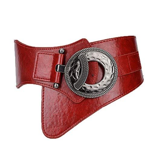 Yiph-Belt Gürtel Freizeit Breiter, elastischer Stretch-Taillengürtel mit Interlock-Schnalle (Farbe : Rot, Größe : Free Size) -