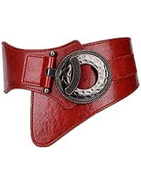 Correa de Cintura elástica Ancha de la Vendimia de la Moda de Las Mujeres  con la Hebilla del Enclavamiento (Color   Rojo 6648ab1a9067