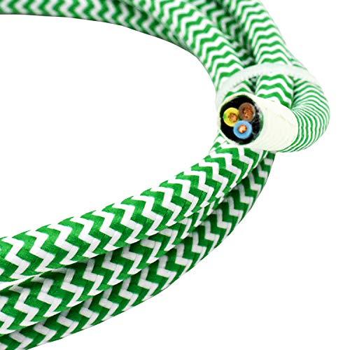 Cable tela, 10 m, color verde blanco, diseño zigzag