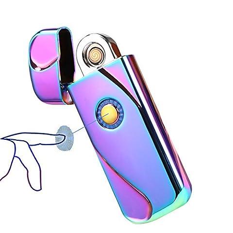 Fil de tungstène léger, Sunwbak d'empreinte digitale Touch Sense rechargeable USB Briquet électronique Zink-alloy classique Cigaretter éclairage coupe-vent sans flamme allume-cigare Fire Starters, coloré
