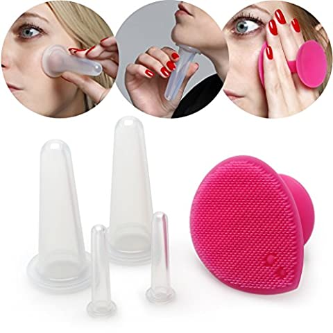 Lunata® Anti Aging Massage Cup, Ensemble de Ventouses en Silicone Massage du Visage (avec une brosse)