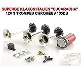 CUCARACHA! KLAXON ITALIEN 3 TROMPES 12V SERIE LIMITEE CHROME 135DB ! TOUR DE France ! RAID PREPARATION 4X4