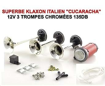 cucaracha klaxon italien 3 trompes 12v serie limitee chrome 135db tour de france. Black Bedroom Furniture Sets. Home Design Ideas