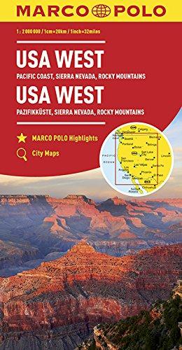 MARCO POLO Kontinentalkarte USA West 1:2 000 000: Pazifikküste, Sierra Nevada, Rocky Mountains: Wegenkaart 1:2 000 000 (MARCO POLO Kontinental /Länderkarten)