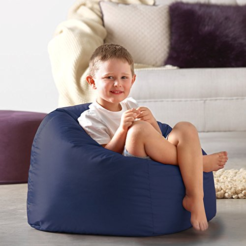 Hi-Rest Bean Bag Chair - Extra Large Bean Bag Chairs for Kids and Teens - Indoor Outdoor Childrens Bean Bags - Big Kids BeanBag Seats (Navy, Medium)
