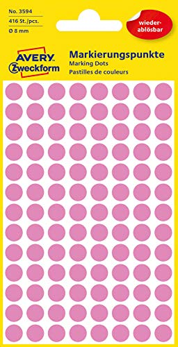 AVERY Zweckform 3594 selbstklebende Markierungspunkte (Ø 8 mm, 416 ablösbare Klebepunkte auf 4 Bogen, runde Aufkleber für Kalender, Planer und zum Basteln, Papier, matt) pink