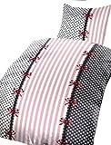 Leonado Vicenti 4 teilige Bettwäsche 135x200 cm in schwarz anthrazit Schleifen Set mit Reißverschluss