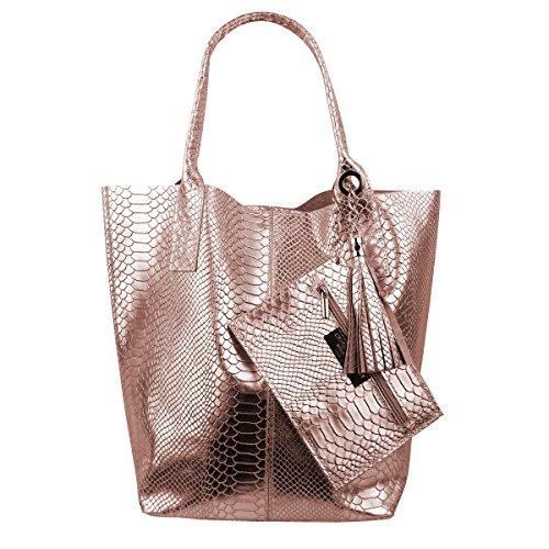 Damen Echtleder Shopper mit Schmucktasche in vielen Farben Schultertasche Henkeltasche Handtasche Metallic look (Rosa Metallic Snake) (Shopper Snake)