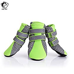 green, S : Pet Dog Shoes Reflective Chihuahua Teddy Boots Breathable Mesh Anti Slip Shoes for Small Medium Dogs
