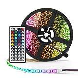 Simfonio LED Stripes 5M 300 LEDs 5050 SMD LED Streifen RGB Komplettes Kit mit Fernbedienung und Netzteil