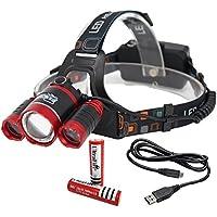Faro, Luz, Linterna LED: USB Batería, ligero, resistente al agua, ajustable cinta para la cabeza, Linterna, 6000lúmenes, Focus, cómodo (CREE XML-T6) 1200mAh de litio recargable + cable incluido