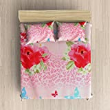 EIN SOF Cotton Double Bedsheet King Size (90x100 Inches) With 2 Pillow Covers Combo Set, Double Bed, King Size Cotton Bedsheet,3D Printed Technology, Floral Design (Rose Pink, 150 TC)
