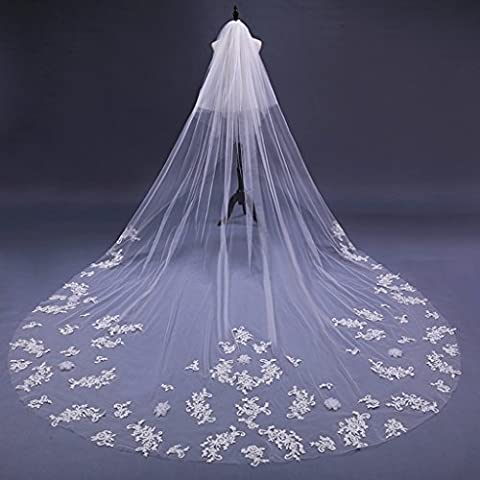 Bride catedral rétro laçage bord voile grande traîne longue robe