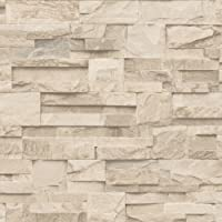 LUXURY MURIVA SLATE STONE BRICK WALL EFFECT TEXTURED VINYL WALLPAPER BEIGE J27407 by UGEPA by UGEPA