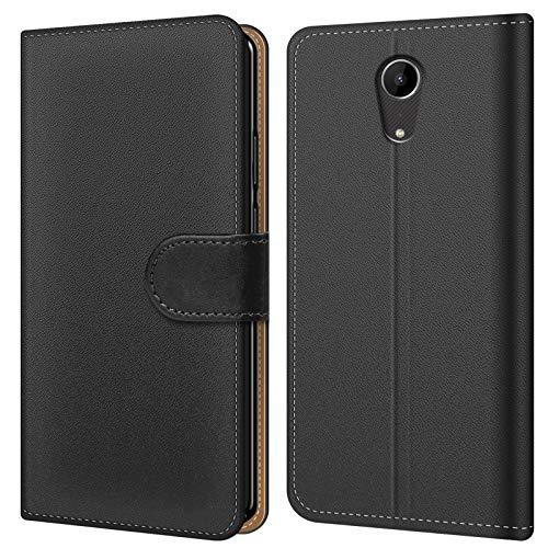 Conie BW46067 Basic Wallet Kompatibel mit Wiko Tommy 2 Plus, Booklet PU Leder Hülle Tasche mit Kartenfächer & Aufstellfunktion für Tommy 2 Plus Case Schwarz