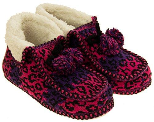 Femmes Coolers Winter Faux Fourrure Fourrure Fairisle Bottes Rose