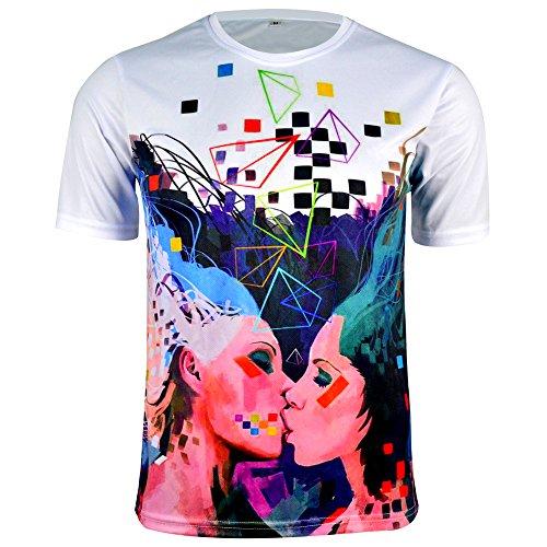 BXIO Sportshirt Damen Kurzarm, Atmungsaktives Schnelltrocknendes Funktions-T-Shirt für Running, Tennis, Fitness, Radfahren, Wandern, Angeln, XXL