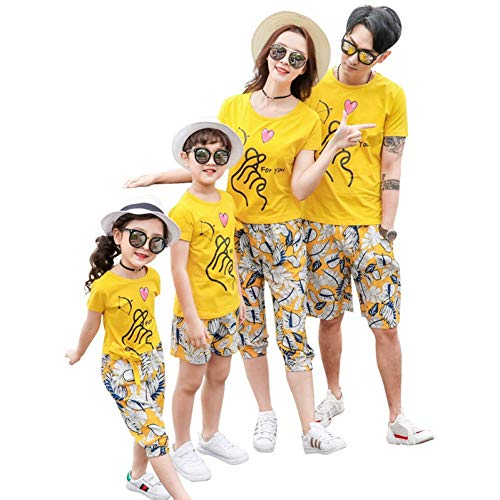 e Passende Outfits Kausal Reisen Mutter/Vater/Kind Sets T Shirt + Shorts Paare Passende Kleidung ()