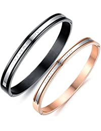 JewelryWe His or Hers Matching Set Couple Stainless Steel Bangle Bracelet Forever in Love Promise Anniversary in a Gift Bag