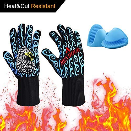 Guantes para cocinar resistentes al calor Hornos para el horno con resistencia de corte L5 para ahumador...