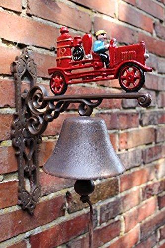Manufaktur-Lichtbogen Große Wandglocke Feuerwehr aus Gusseisen - 35 cm hoch