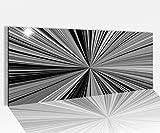Acrylglasbild 100x40cm schwarz weiss Abstrakte Kunst bunt Hypnose Linien Acrylbild Acryl Druck Acrylglas Acrylglasbilder 14A8831, Acrylglas Größe1:100cmx40cm