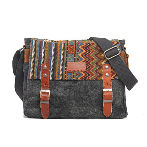 YAAGLE Neu schick Retrotasche Schultertasche national Stil Kuriertasche Freizeit Herren Reisetasche-khaki grey
