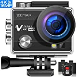 JEEMAK Action Cam WiFi Action Kamera 4K Camera mit 2.4G Fernbedienung 16MP Ultra Full HD Helmkamera...