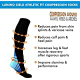 Lumino Cielo Athletic Fit Graduated Compression Socks, Knee Length for Marathon Runners, Varicose Veins, Leg Pain, Calf Pain, Shin Splints (L/XL, Black and Blue)