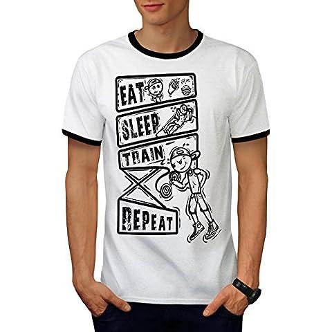 Manger Dormir Train Sport Homme L T-shirt à sonnerie | Wellcoda