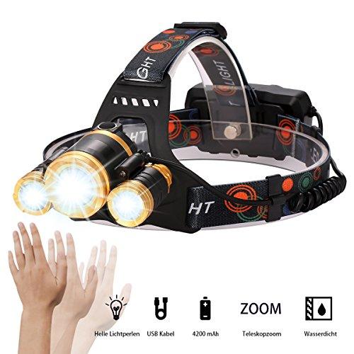 LED Stirnlampe Wasserdicht, USB Wiederaufladbare LED Kopflampe, Induktion Scheinwerfer, 3000 Lumen Zoombar, 5 Modus zu wahlen inklusive, Verstellbares Band, inklusive USB Kabel und EU-Stecker