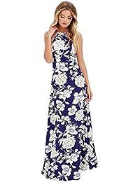 Maxi Kleider Goosun Sommer Damen Sexy Blumen Kleider Neckholder Rückenfrei  Abendkleider Elegant Cocktailkleid Maxikleid Lang Chiffon cd8cc3a4f6