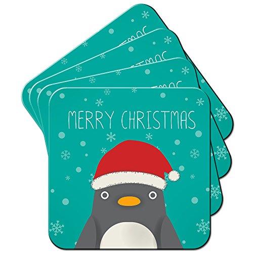 Niedlicher Pinguin mit großen Augen und Weihnachtsmann-Mütze Set aus 4 Untersetzern