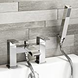 iBathUK Chrome Bath Filler Mixer Tap Hand Held Shower Head Handset Set TB95