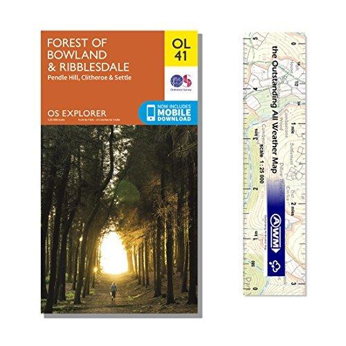 Ordnance Survey Pack - Explorer Map OL41 ~ Forest of Bowland & Ribblesdale plus scale ruler