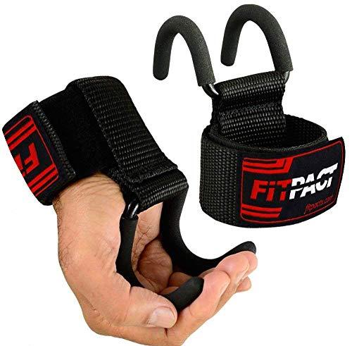 FITPACT Zughilfen Metallhaken Gewichtheben Gym Haken Bodybuilding Klimmzughaken Power Greifer Handgelenkbandage Training Powerlifting Krafttraining Fitness Gepolsterte Hook Straps