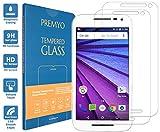PREMYO 2 Stück Panzerglas für Motorola Moto G 2015 Schutzglas Display-Schutzfolie für Moto G-3 Blasenfrei HD-Klar 9H 2,5D Echt-Glas Folie kompatibel für Motorola Moto G 3. Generation Gegen Kratzer
