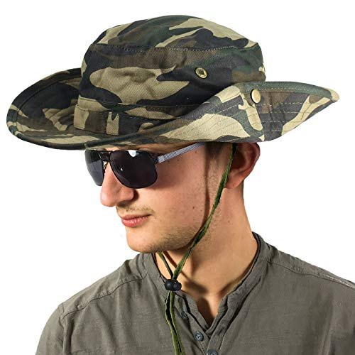 TOSKATOK® Unisex Safari Outback Australian Style Cotton Bush HAT with Wide Brim, Chin Strap, Side Press Studs and AIR Vents-1 Wide Brim Fedora-hut