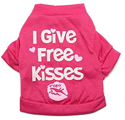 Pink I Give Free Kisses Dog T-Shirt- 4 Sizes