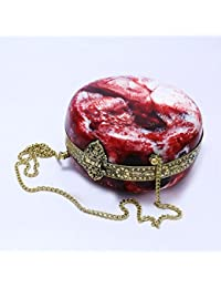 GiftingBestWishes Red Metal Clutch Cum Sling Bag With Strong Metal Chain For Women