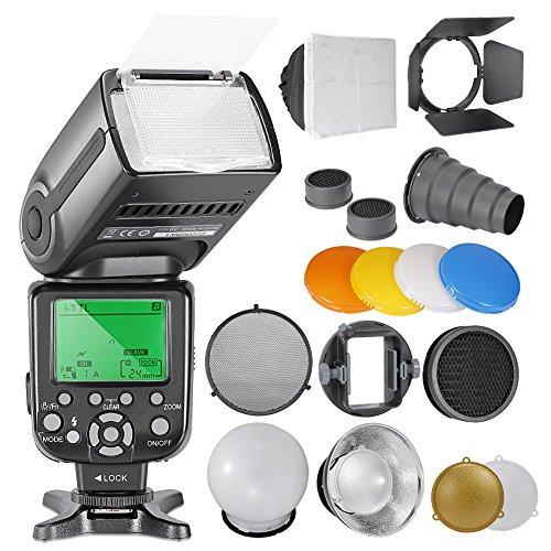 Neewer® NW-565 EXN i-TTL-Slave-Speedlite Flashlight-Set für Nikon D4, D3s, D3x, D3, D700, D300s, D300, D200, D100, D90, D80, D70s, D5200, D3200, D7000, D5100, D5000, D3100 umfasst D3000, D60, D40x, D800, D600, D7100 und alle anderen Nikon-Modelle, (1) NW-565 iTTL-Blitz für Nikon + Speedlite BlitzzubehörSet mit Barndoor, Snoot, Bienenwabe, Standardreflektor, Diffusor Ball, Farbgel (orange, blau, weiß, gelb), Softbox, Universalhalterung Adpater