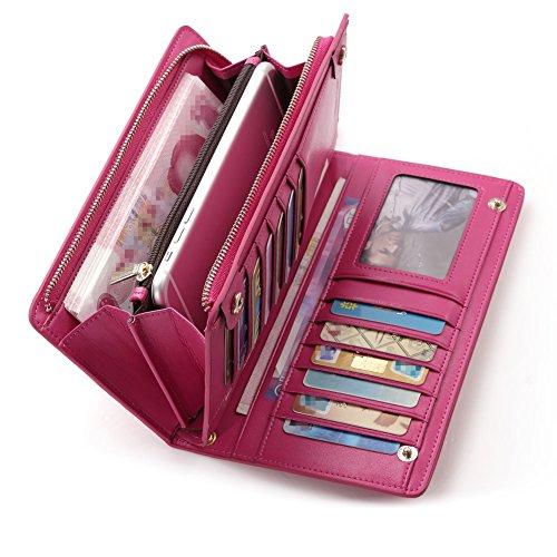 6adb4f8cc Teemzone Nueva Larga Monedero Billetera de Cuero Genuino para Mujer  Tarjetero de Crédito Tarjetas Ranuras Diseño