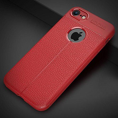 """Apple iPhone 8 (4.7"""") Hülle, MSVII® Anti-Shock Weich TPU Silikon Hülle Schutzhülle Case Und Displayschutzfolie für Apple iPhone 8 (4.7"""") - Grau JY90104 Rot"""