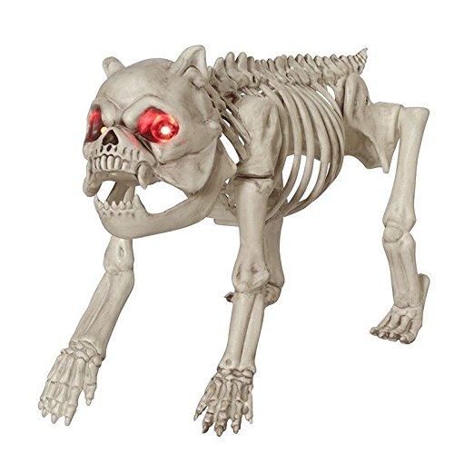 Skelett-Hund, 30.48 cm, mit roten LED-Augen, Halloween-Deko