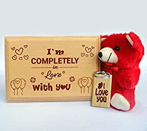 TIED RIBBONS I m completely in love with you plank with Keyring and Teddy
