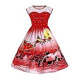 TWIFER Damen Weihnachten Kleid, Drucken Spitze Pin Up Swing Spitze Party Panel Übergroße Maxikleid