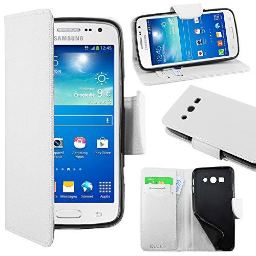 ebestStar   pour Samsung Galaxy Core 4G SM G386F   Housse Coque Etui Portefeuille Support PU Cuir, Couleur Blanc [Dimensions PRECISES de votre appareil : 132.9 x 66.3 x 9.8 mm, écran 4.5'']