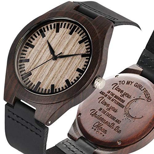 WRENDYY Holzuhren Einzigartige maßgeschneiderte Uhr für Meine Freundin Frauen aus Holz Uhren Leder Geschenke für Freundin -