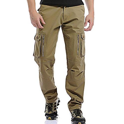 Vertvie Herren Hosen Lange Multi Taschen Velour Slim Fit Cargohosen Freizeithose Warm Pants Arbeitshose Baumwolle (Tiefes Khaki, EU 50/Etikettengröße 34) (Herren Velour Jogger)