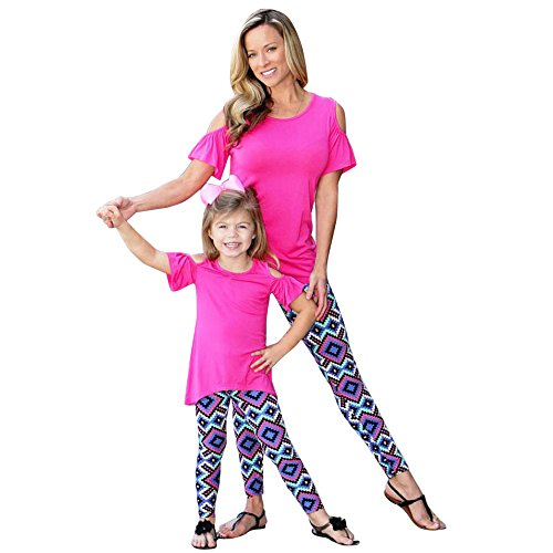 Xmansky Familie Collocation Mutter Tochter Rosa Geometrisch Mode Gamaschen (Und Tochter Cute Mutter Kostüme)
